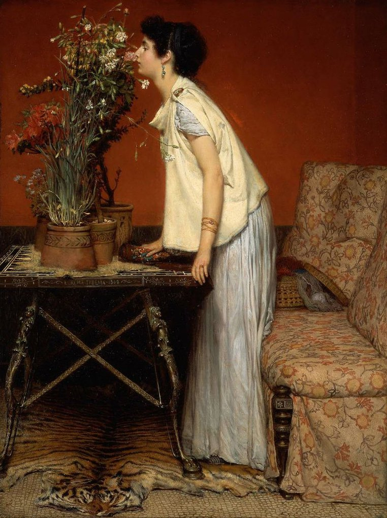 Woman and Flowers 1868 | Sir Lawrence Alma Tadema | oil painting