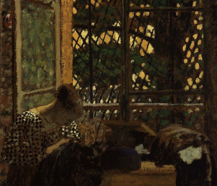 Woman Sewing before a Garden Window 1895 | Edouard Vuillard | oil painting