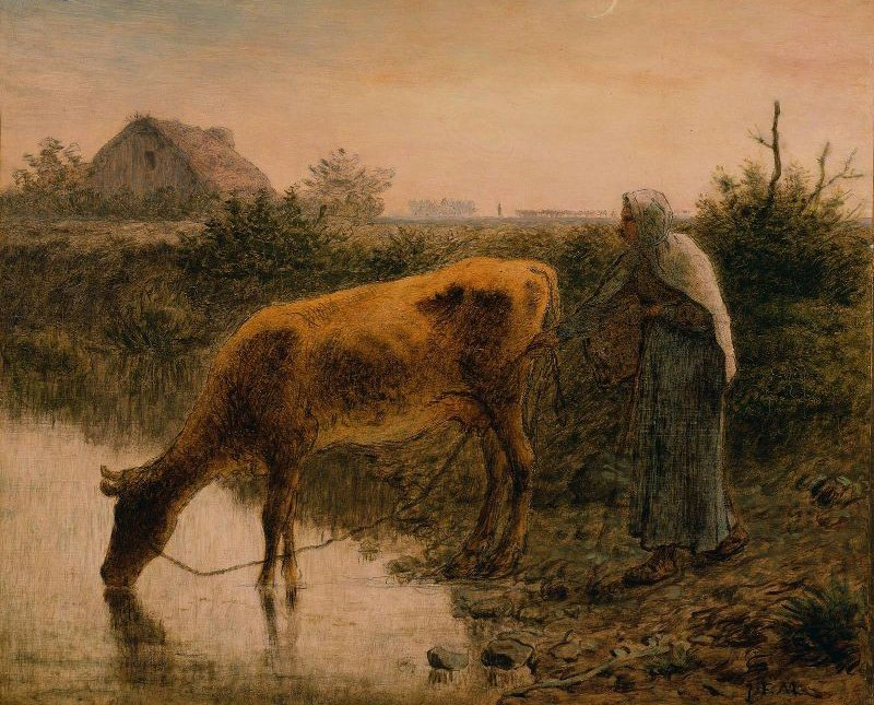 Peasant Watering Her Cow 1863   Jean Francois Millet   oil painting