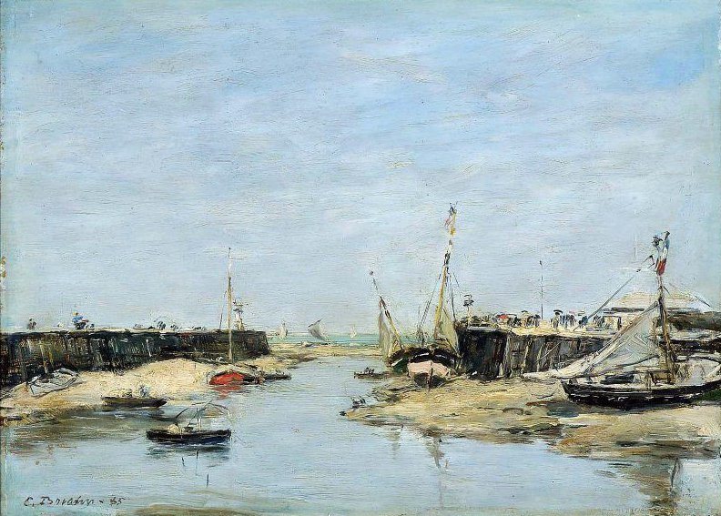Trouville Les Jetees a Maree Basse 1885 | Eugene Louis Boudin | oil painting