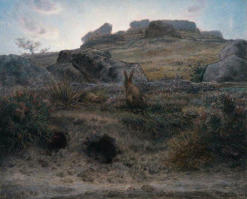 Rabbit Warren Dawn 1867 | Jean Francois Millet | oil painting