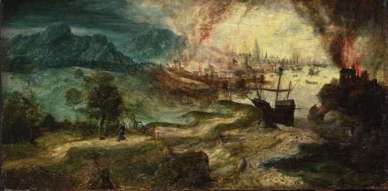 Landscape with Burning City 1500 | Herri Met De Bles | oil painting