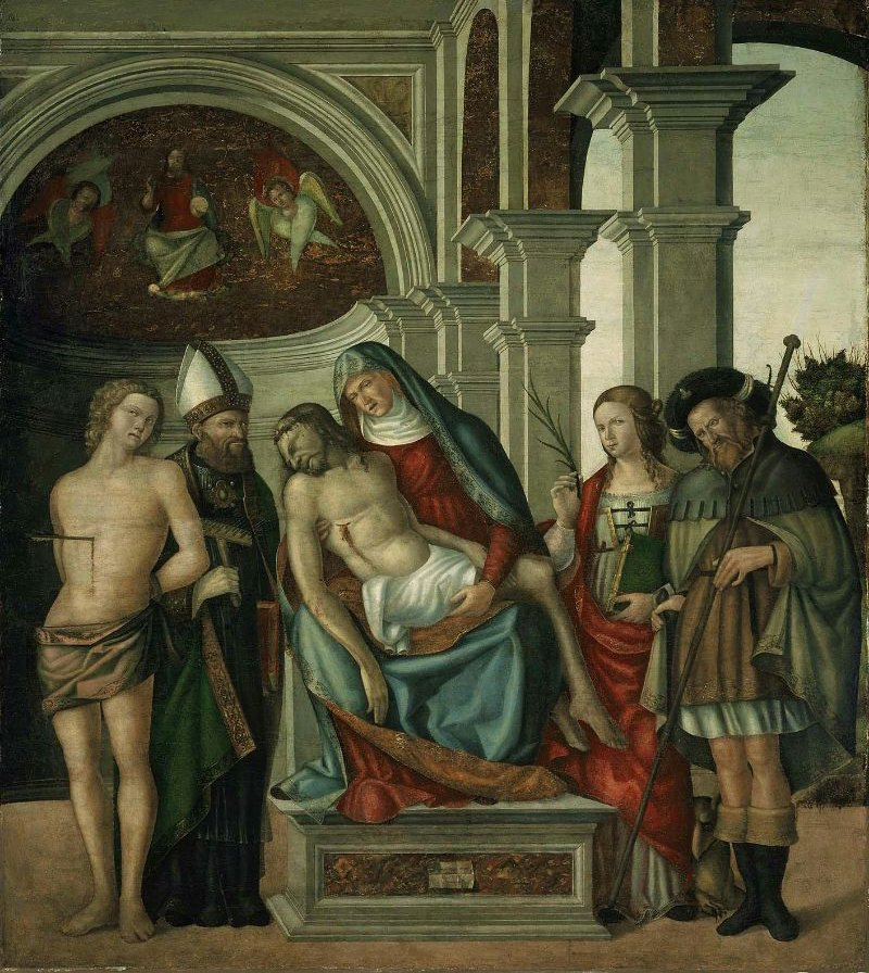 Virgin Holding the Dead Christ with Saints Sebastian Blaise Margaret and James the Great 1513 | Gaspare Negro | oil painting