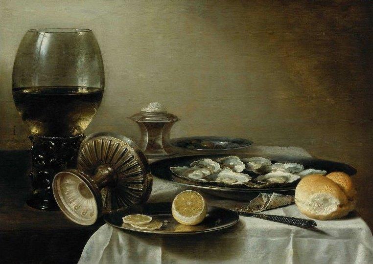 Still Life with Wine Goblet and Oysters 1630s | Pieter Claesz | oil painting