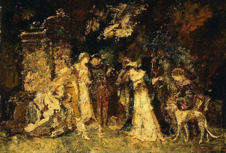 Figures in Renaissance Costume | Adolphe Joseph Thomas Monticelli | oil painting