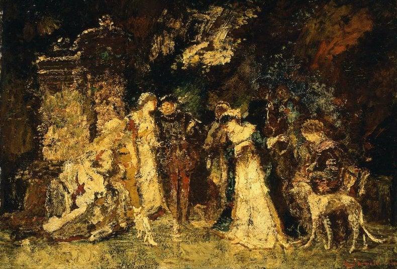 Figures in Renaissance Costume | Adolphe Joseph Thomas Monticelli | oil painting