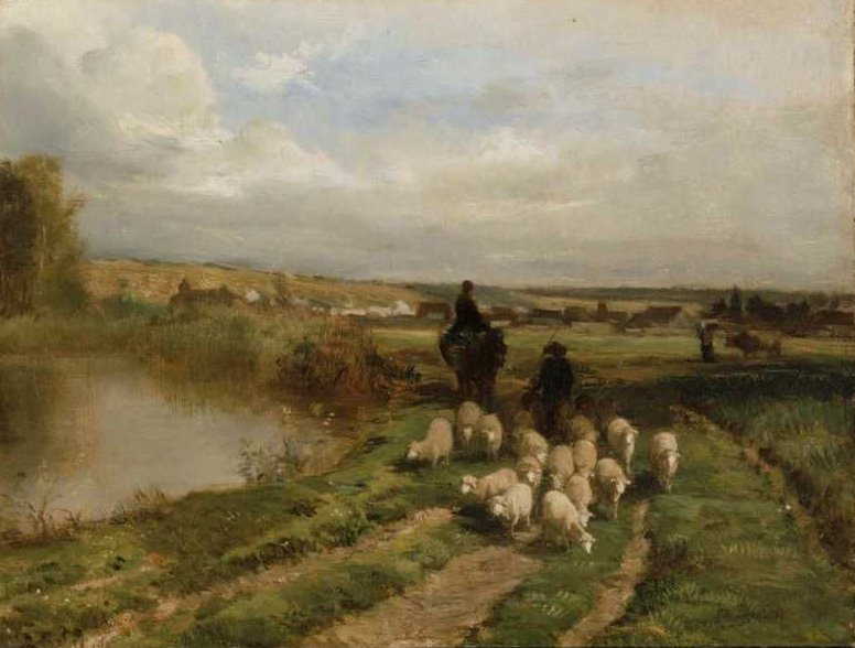 Sheep and Shepherd in a Landscape 1854 | Constant Troyon | oil painting