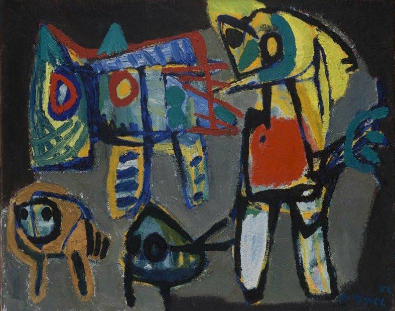 Men and Animals 1952 | Karel Appel | oil painting