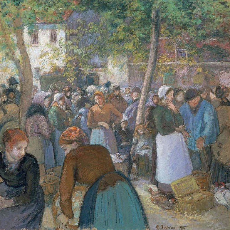 Poultry Market at Gisors 1885   Camille Pissarro   oil painting