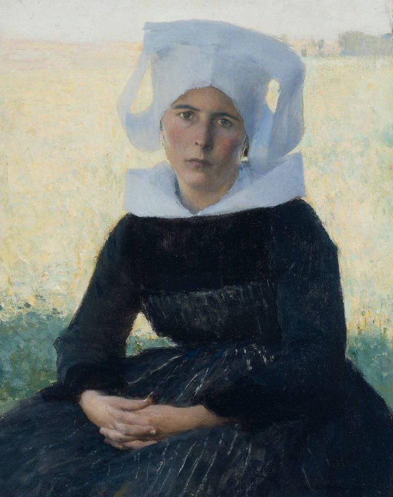 Woman in Breton Costume Seated in a Meadow 1887 | Pascal Adolphe Jean Dagnan Bouveret | oil painting