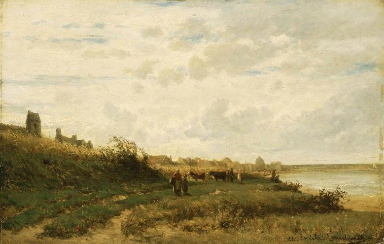 Village on the Sea 1866 | Emile Charles Lambinet | oil painting