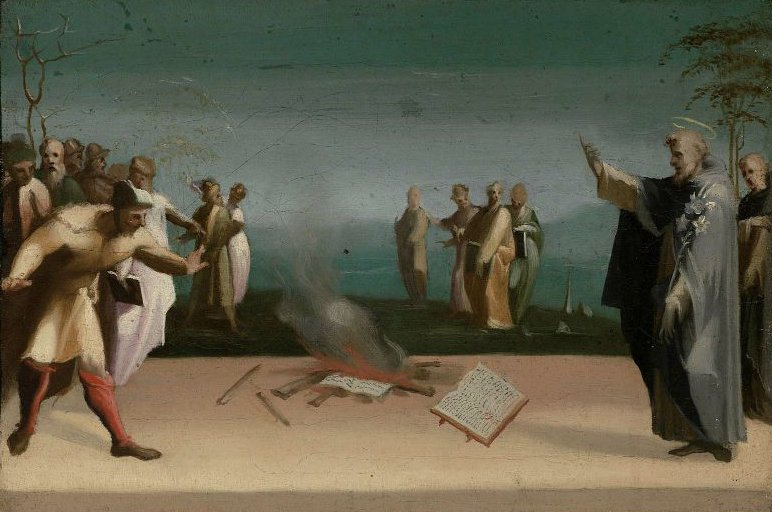 Saint Dominic and the Burning of the Heretical Books | Domenico Beccafumi | oil painting