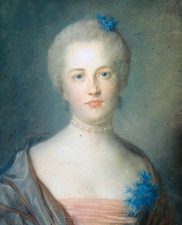 Portrait of a Woman with a Corsage of Blue Flowers | Jean Baptiste Perronneau | oil painting
