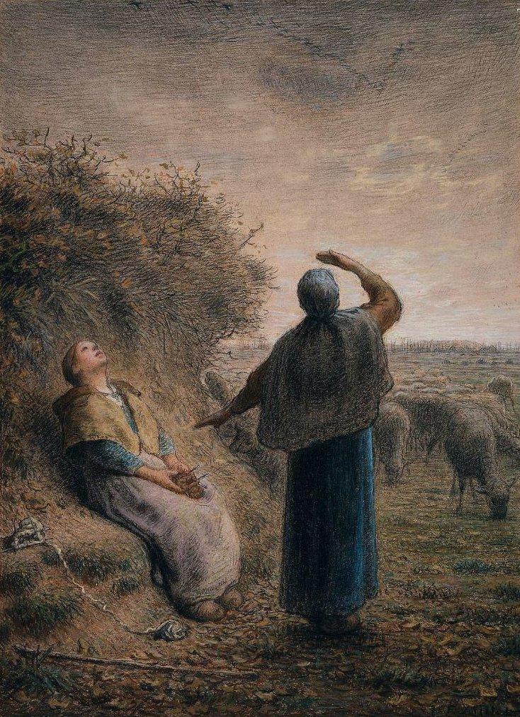 Shepherdesses Watching a Flight of Wild Geese 1866 Painting | Jean ...