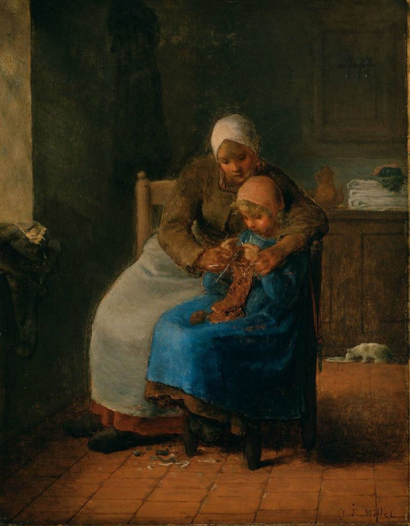 Knitting Lesson 1860   Jean Francois Millet   oil painting