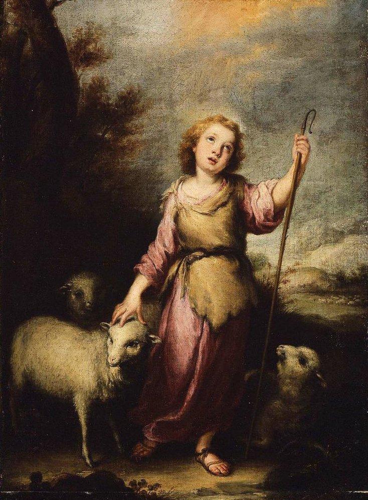 The Young Christ as the Good Shepherd | Bartolome Esteban Murillo | oil painting