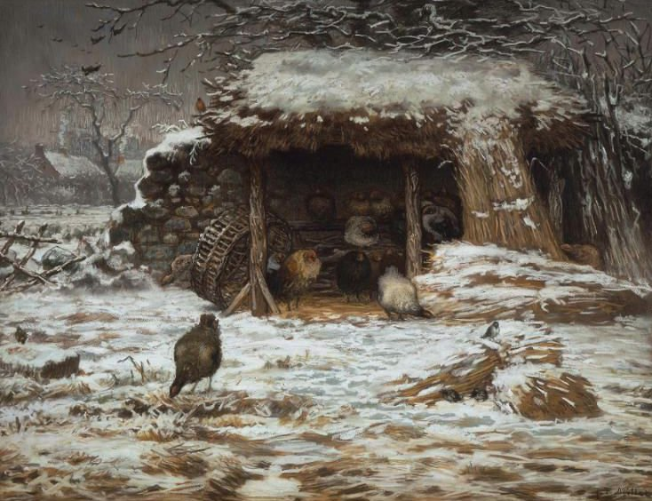 Farmyard in Winter 1868 | Jean Francois Millet | oil painting