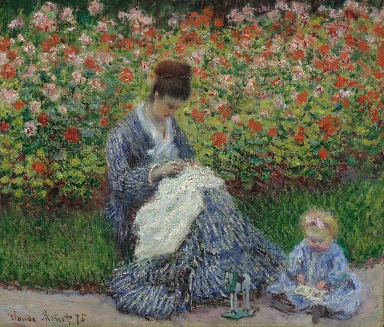 Camille Monet and a Child in the Artists Garden in Argenteuil 1875 | Claude Monet | oil painting