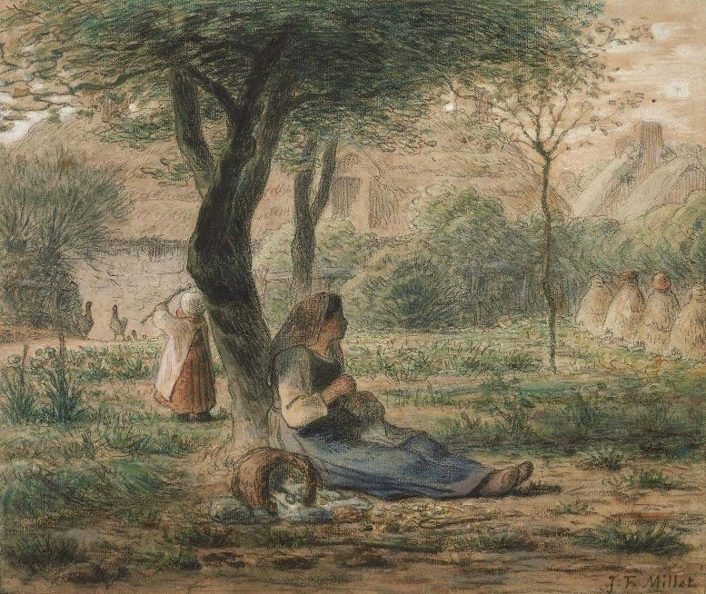 In the Garden 1860 | Jean Francois Millet | oil painting