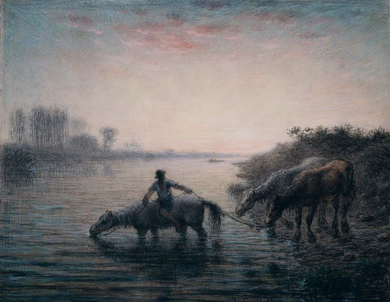 Watering Horses Sunset 1866 | Jean Francois Millet | oil painting