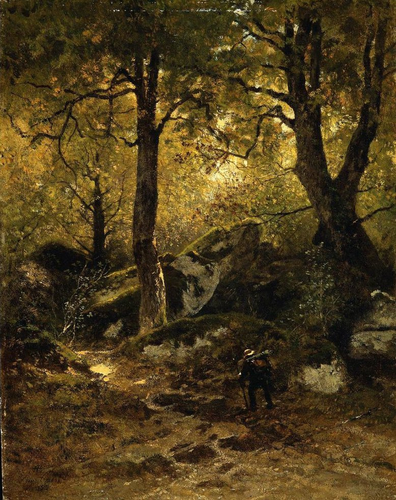 Artist in the Gorge aux Loups Forest of Fontainebleau 1852 | Eugene Ciceri | oil painting