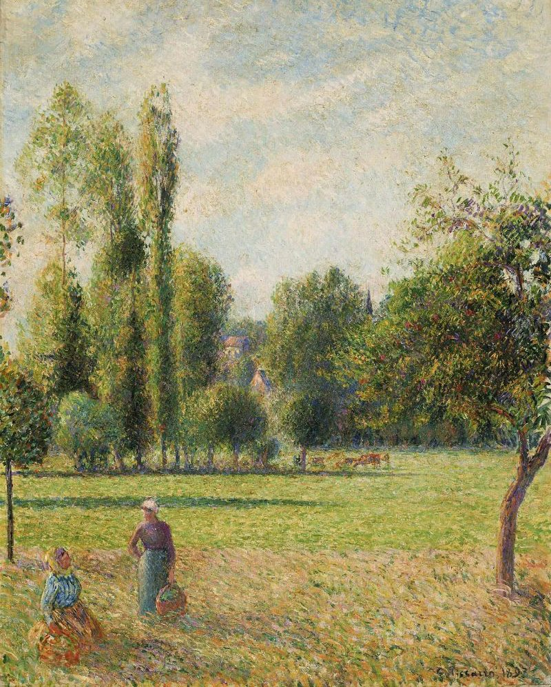 Two Peasant Women in a Meadow Le Pre 1893 | Camille Pissarro | oil painting