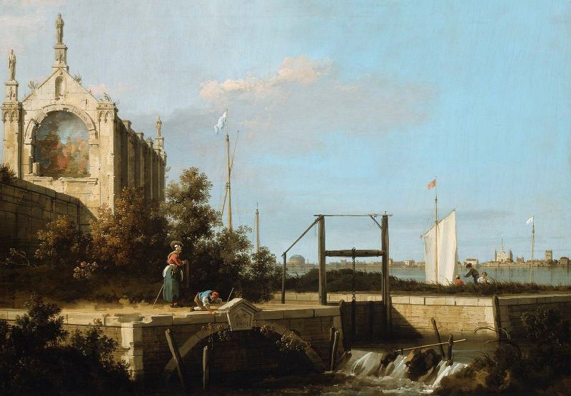 Capriccio A Sluice on a River with a Chapel 1754 | Canaletto | oil painting