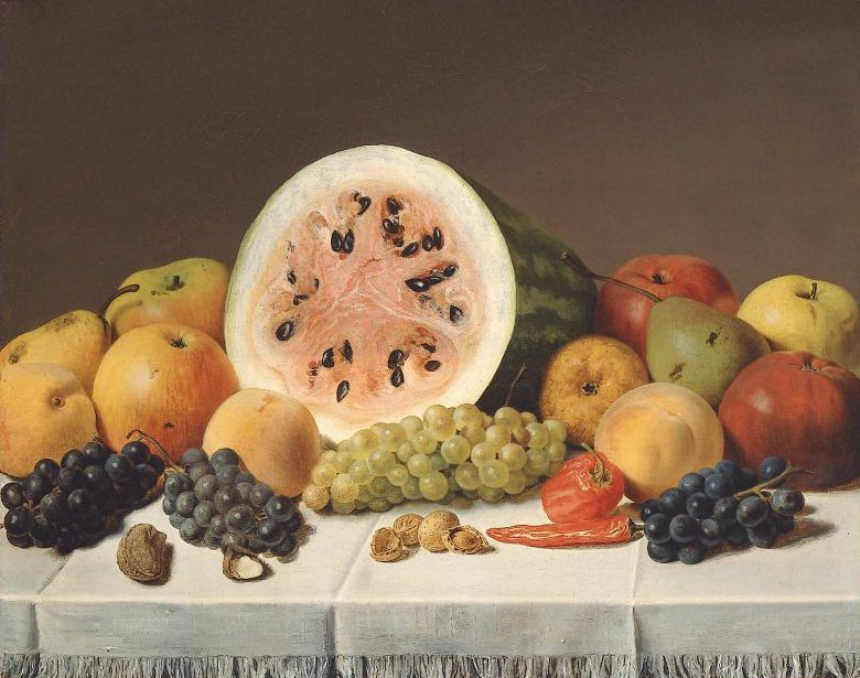 Watermelon and Fruit 1850s | Unidentified artist | oil painting