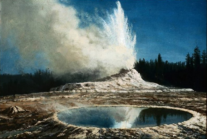 Geyser Yellowstone Park 1881 | Albert Bierstadt | oil painting