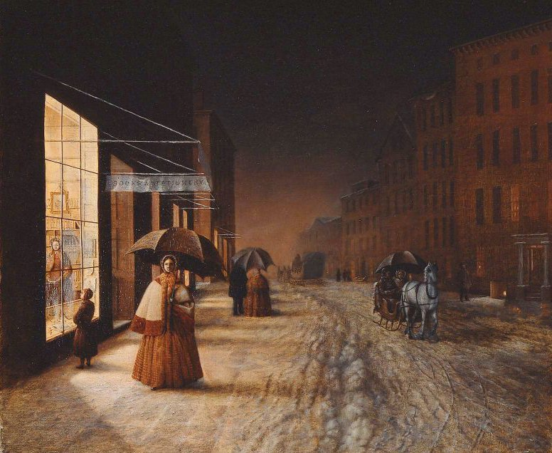 A Street in Winter Evening 185 | Unidentified artist | oil painting