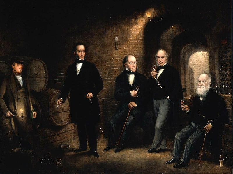 Four Wine Tasters in a Cellar 1859 | Unidentified artist | oil painting