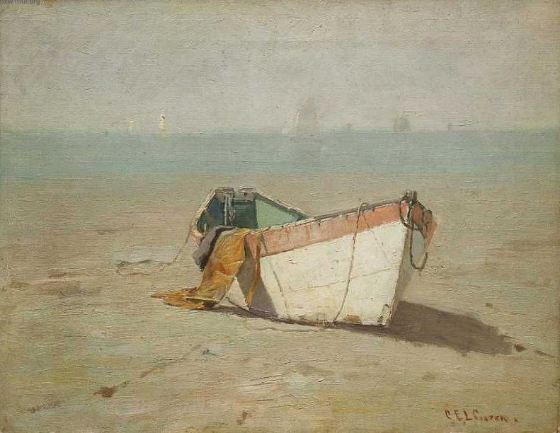 Winter Dory Kings Beach Swampscott Massachusetts 1890 | Charles Edwin Lewis Green | oil painting