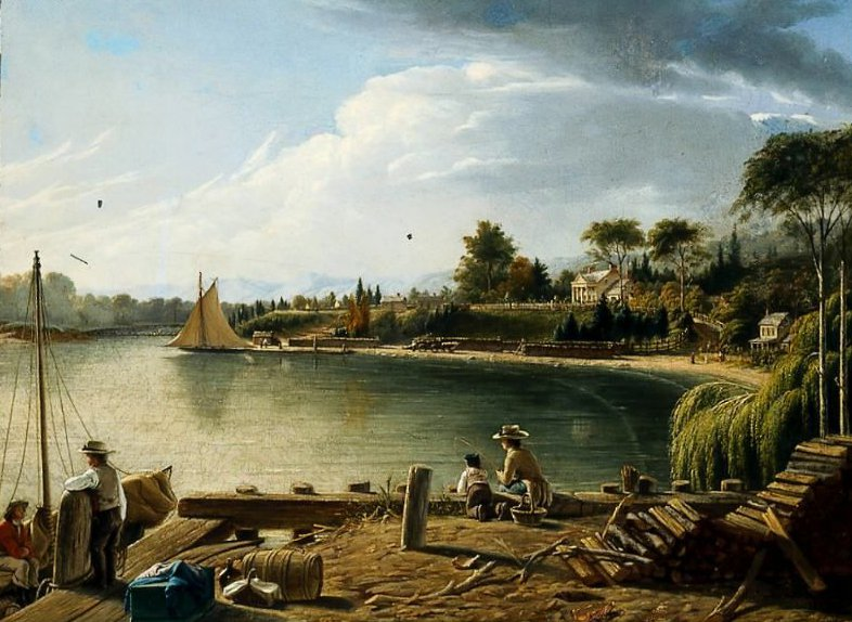 A River Landing 1855 | Unidentified artist | oil painting