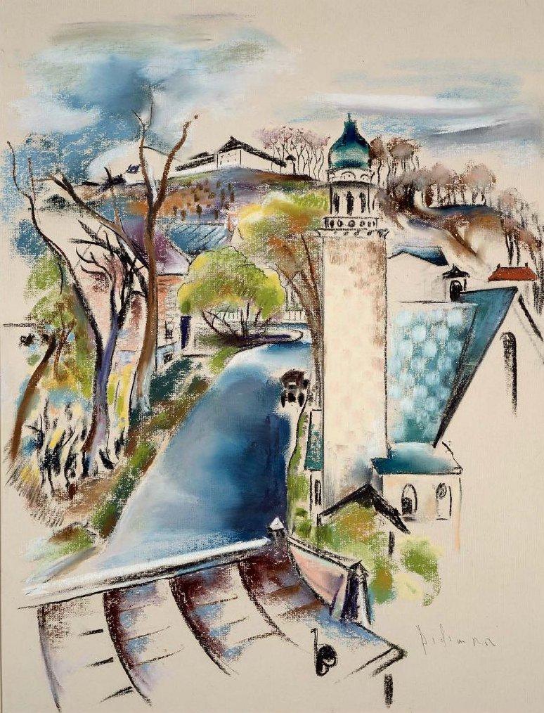 Port Jefferson Long Island 1920s   Preston Dickinson   oil painting