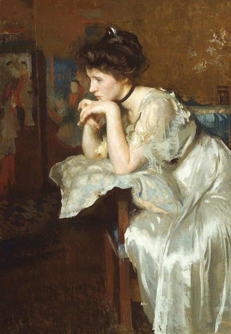 Reverie Katharine Finn 1913 | Edmund Charles Tarbell | oil painting