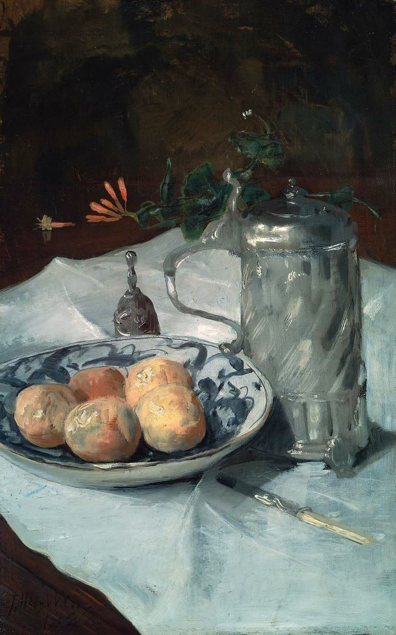 The Delft Plate 1888   Julian Alden Weir   oil painting