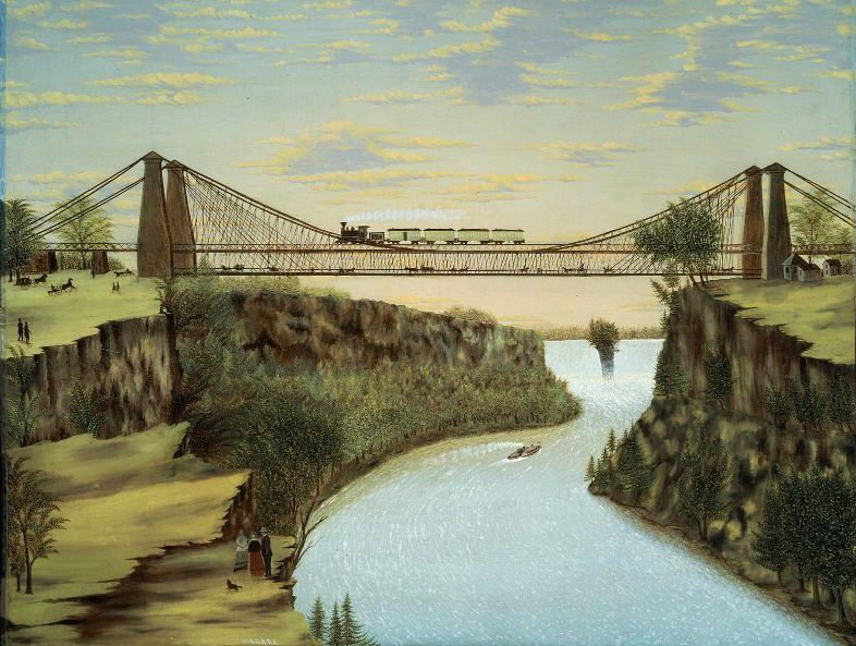 The Railroad Suspension Bridge near Niagara Falls 1856 or after | Unidentified artist | oil painting