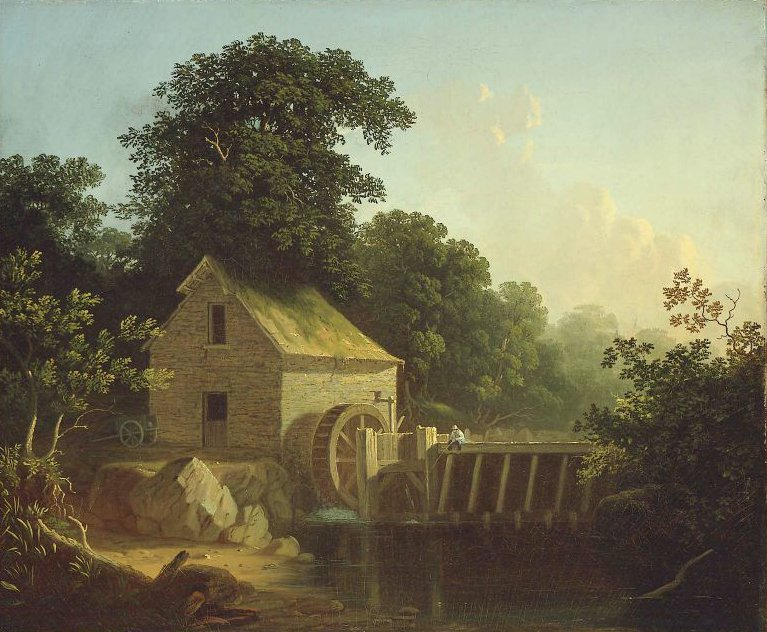 Landscape with Waterwheel and Boy Fishing | George Caleb Bingham | oil painting