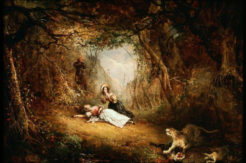 Leatherstocking Kills the Panther 1834 | George Loring Brown | oil painting