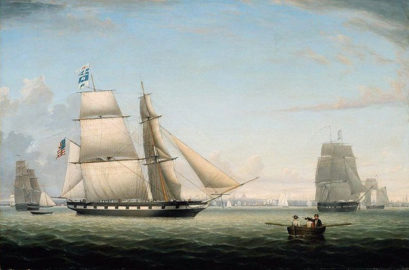 Brig Antelope in Boston Harbor 1863 | Fitz Henry Lane | oil painting