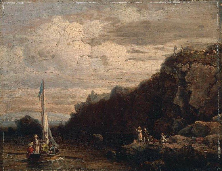 Rocks at Nahant Swallows Cove 1839 | Robert Salmon | oil painting