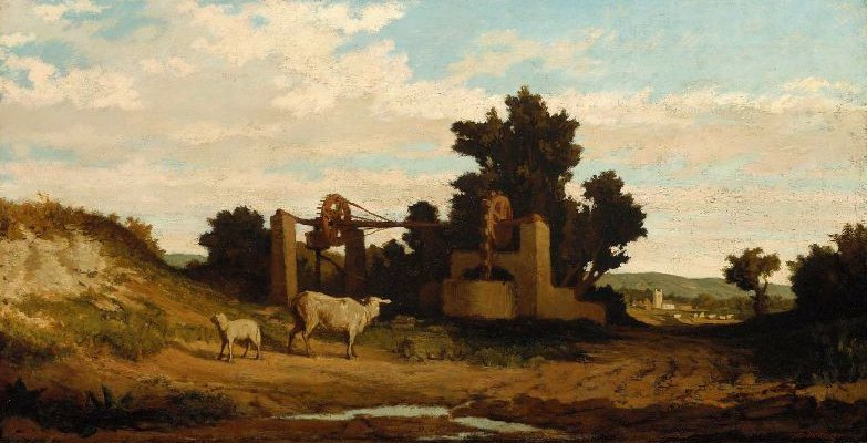 Landscape with Sheep and Old Well 1857 | Elihu Vedder | oil painting