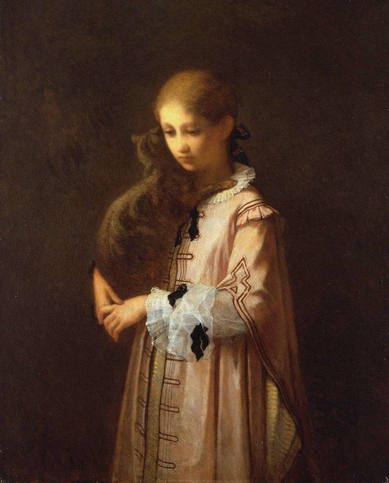 Girl with Cat 1856 | William Morris Hunt | oil painting