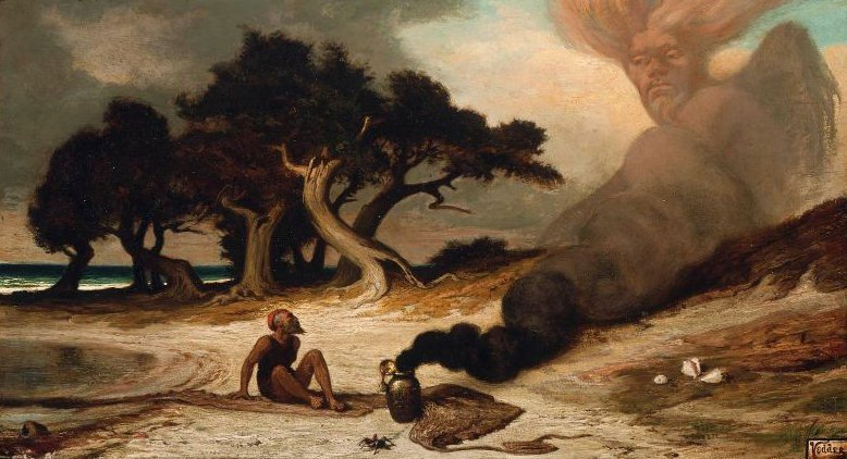 Fisherman and the Genie 1863 | Elihu Vedder | oil painting