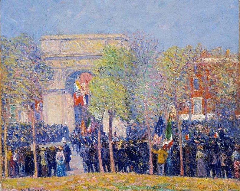 Italo American Celebration Washington Square 1912 | William James Glackens | oil painting