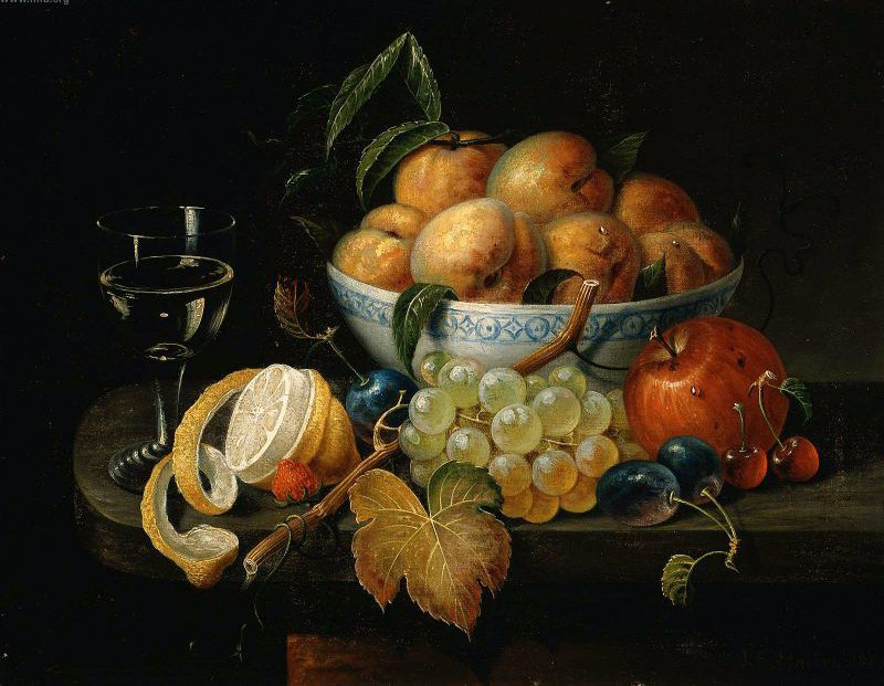 Still Life Bowl With Fruit And Wine Glass 1865 Painting John