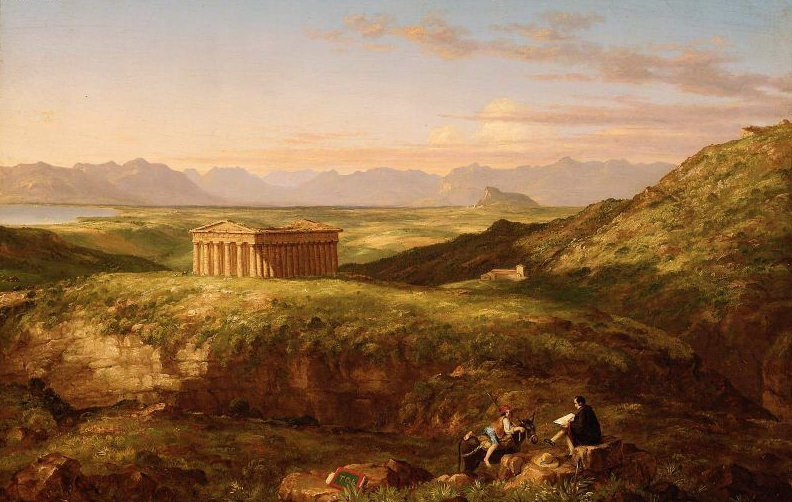 The Temple of Segesta with the Artist Sketching 1842 | Thomas Cole | oil painting
