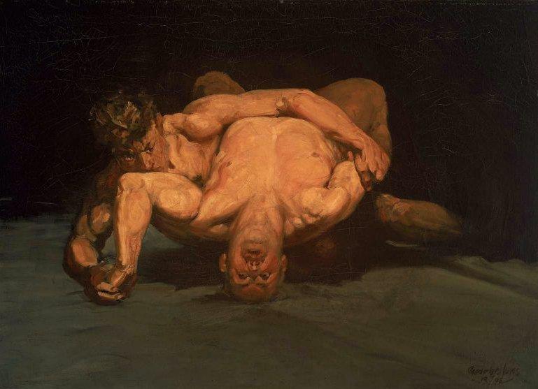 The Wrestlers 1905 | George Benjamin Luks | oil painting