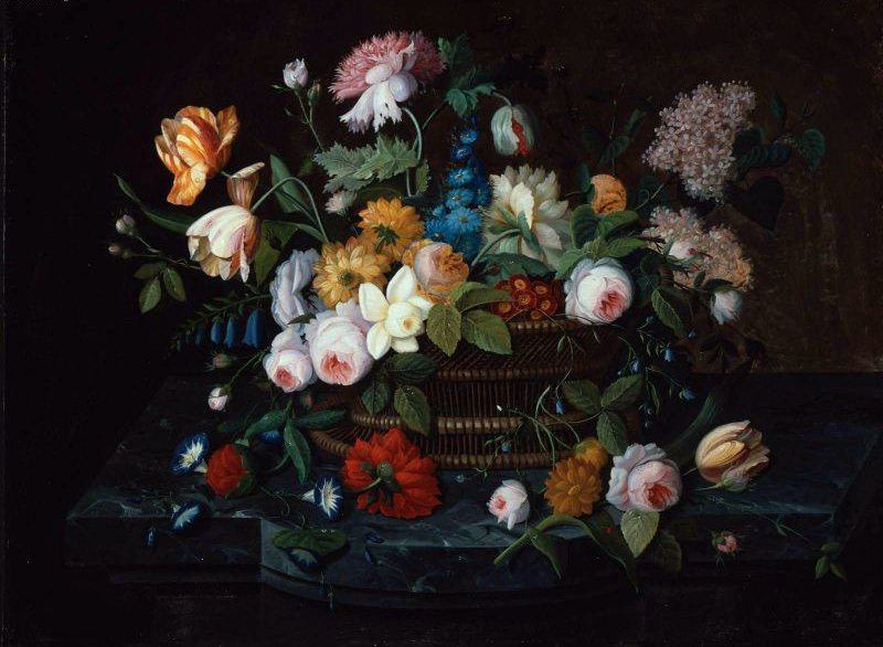 Still Life Flowers in a Basket 1850s | Severin Roesen | oil painting
