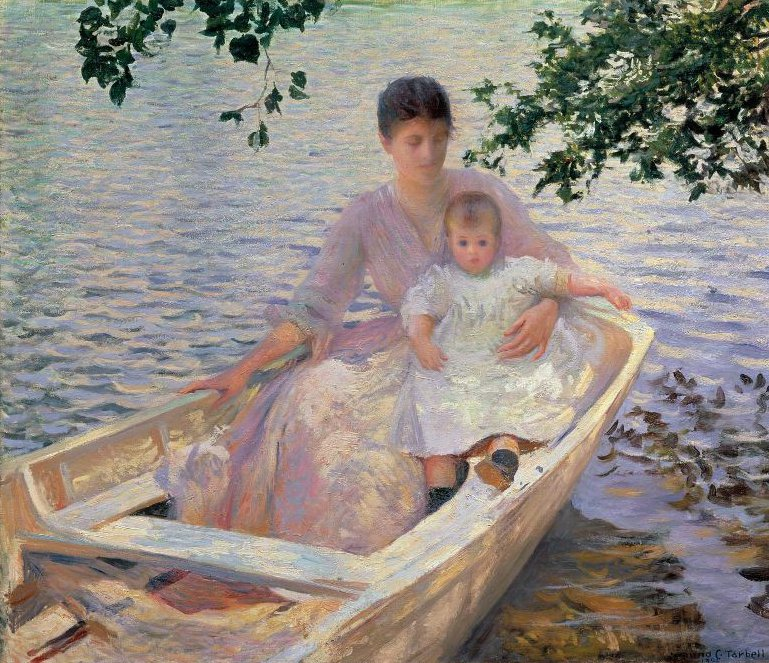 Mother and Child in a Boat 1892 | Edmund Charles Tarbell | oil painting
